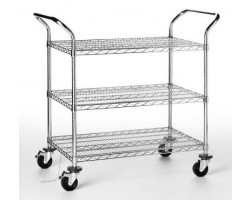 ESD cart with wired chromed steel shelving rack