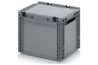 - Euro containers with hinge lid and open handles